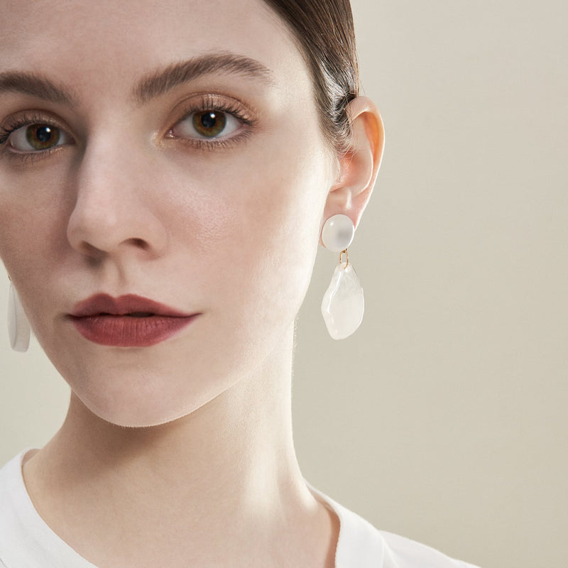 Milky White Drop Earrings