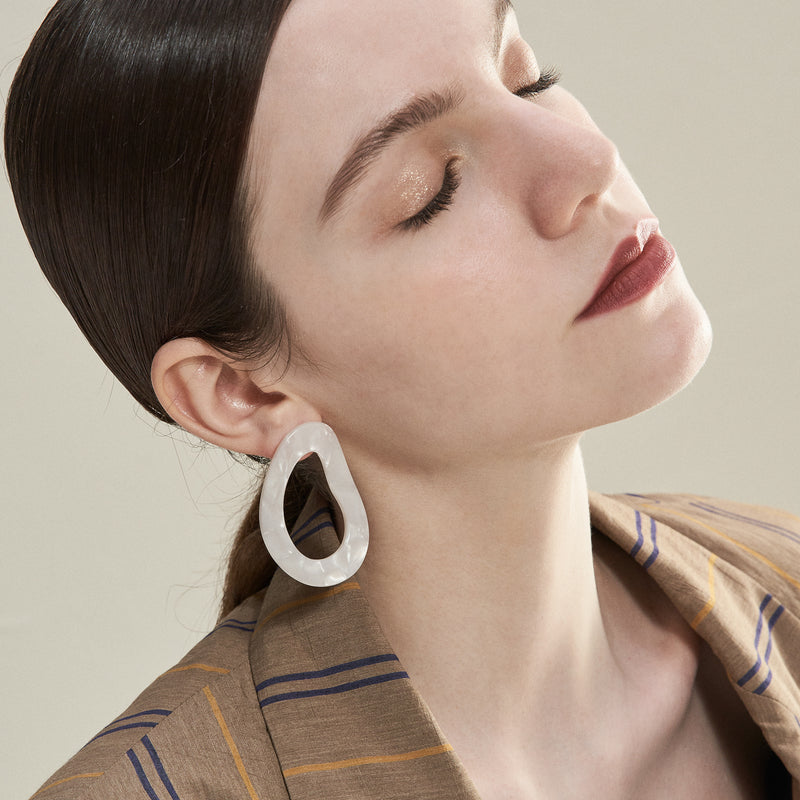 Pearlized Circular Cut Out Earrings