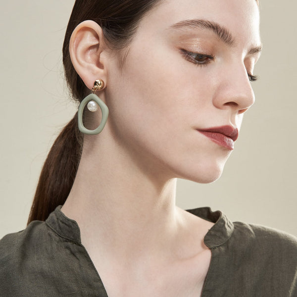 Painted Jade Asymmetric Drop Earrings
