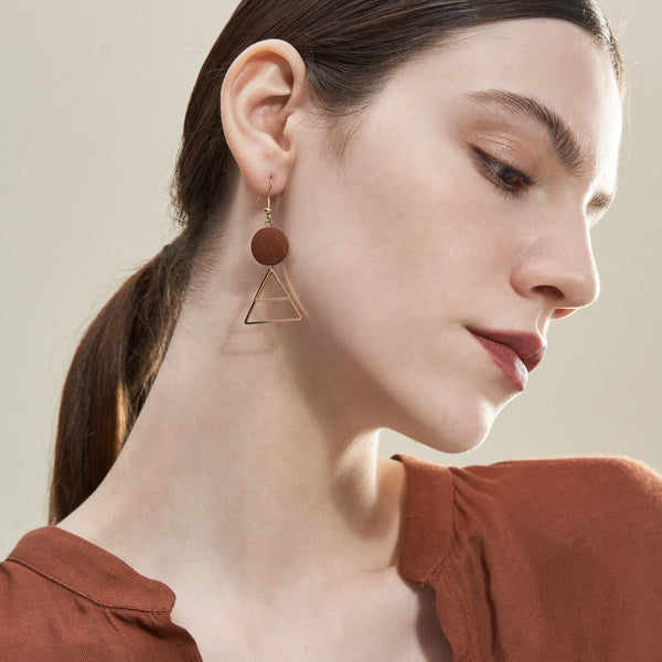 Wooden Geometric Shape Drop Earrings