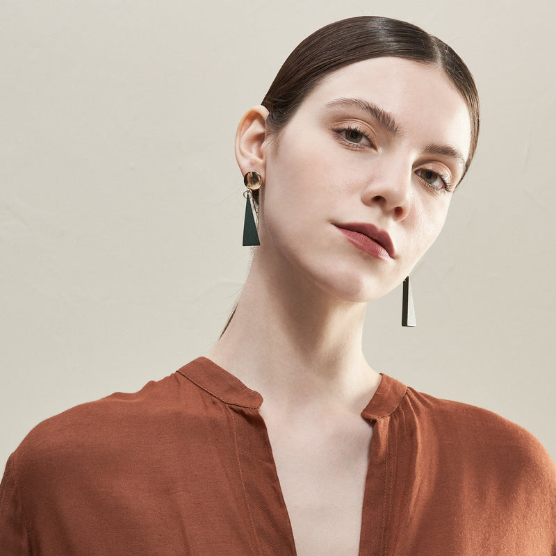 Wooden Triangular Drop Earrings