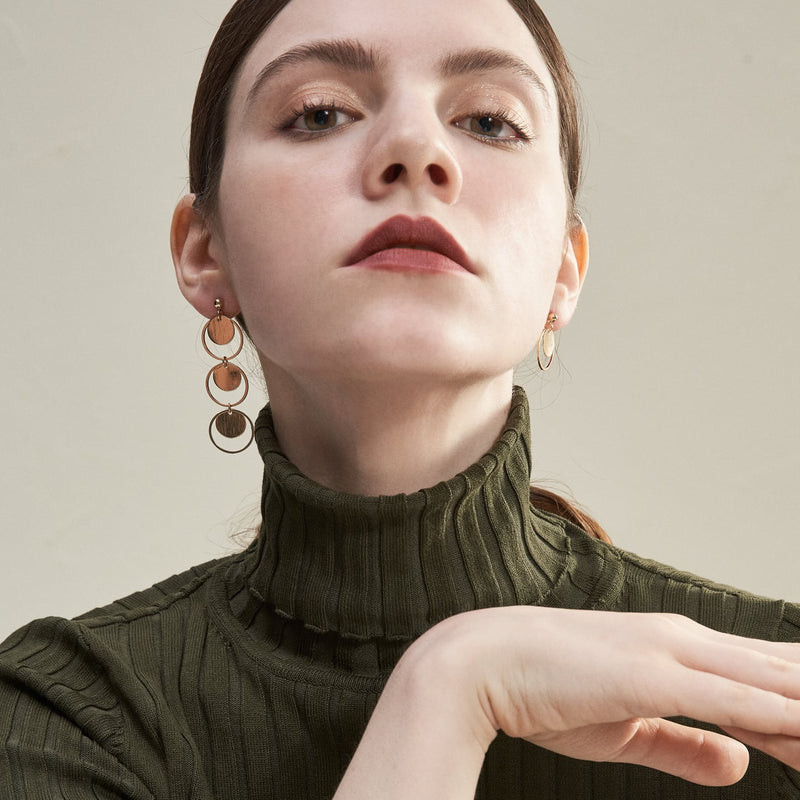 Asymmetric Circular Drop Earrings