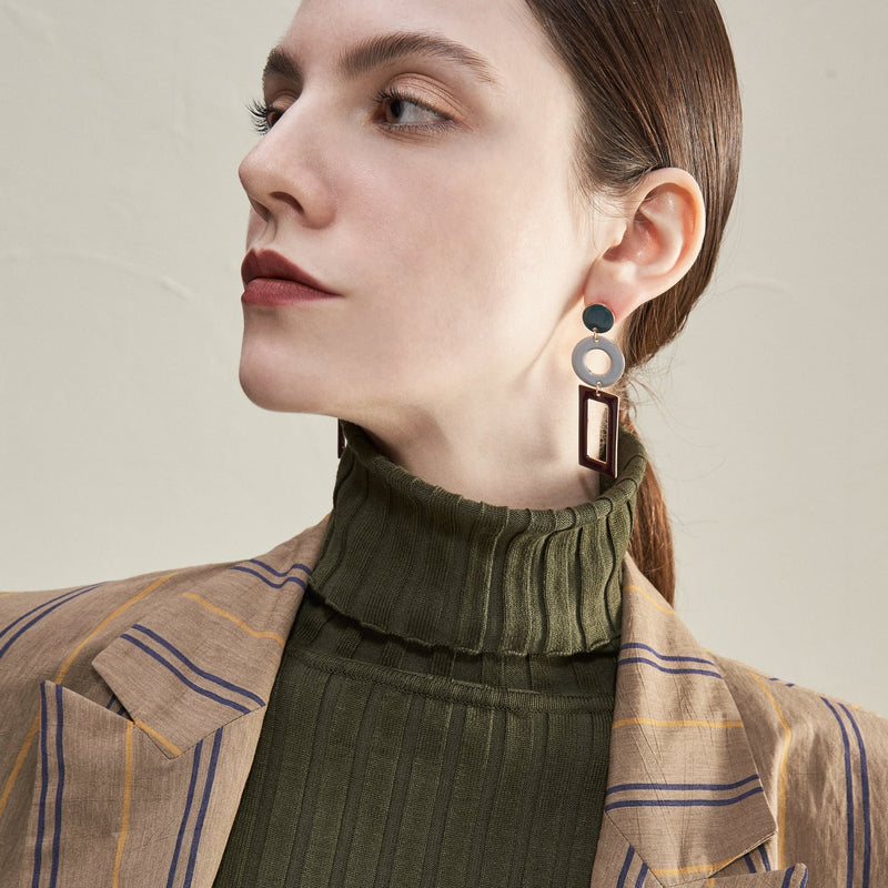 Tri Tone Geometric Shape Drop Earrings