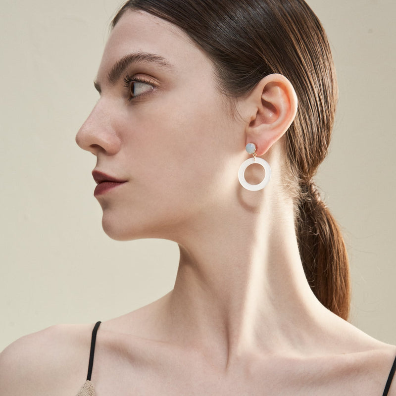 Opal Cut Out Drop Earrings