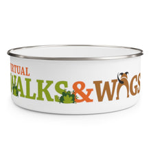 "Load image into Gallery viewer, ""Walks & Wags"" Enamel Bowl"