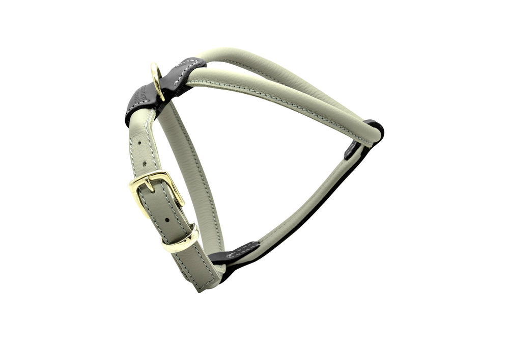 Grey D&H Rolled Leather Dog Harness
