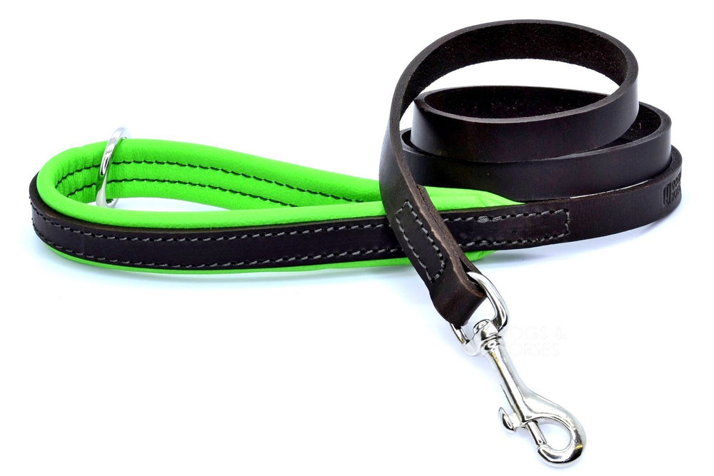 (Dogs&Horses) D&H London. Handmade Luxury brown flat leather dog lead with padded handle in soft Green leather. 122 cm long (including handle) x 15mm wide