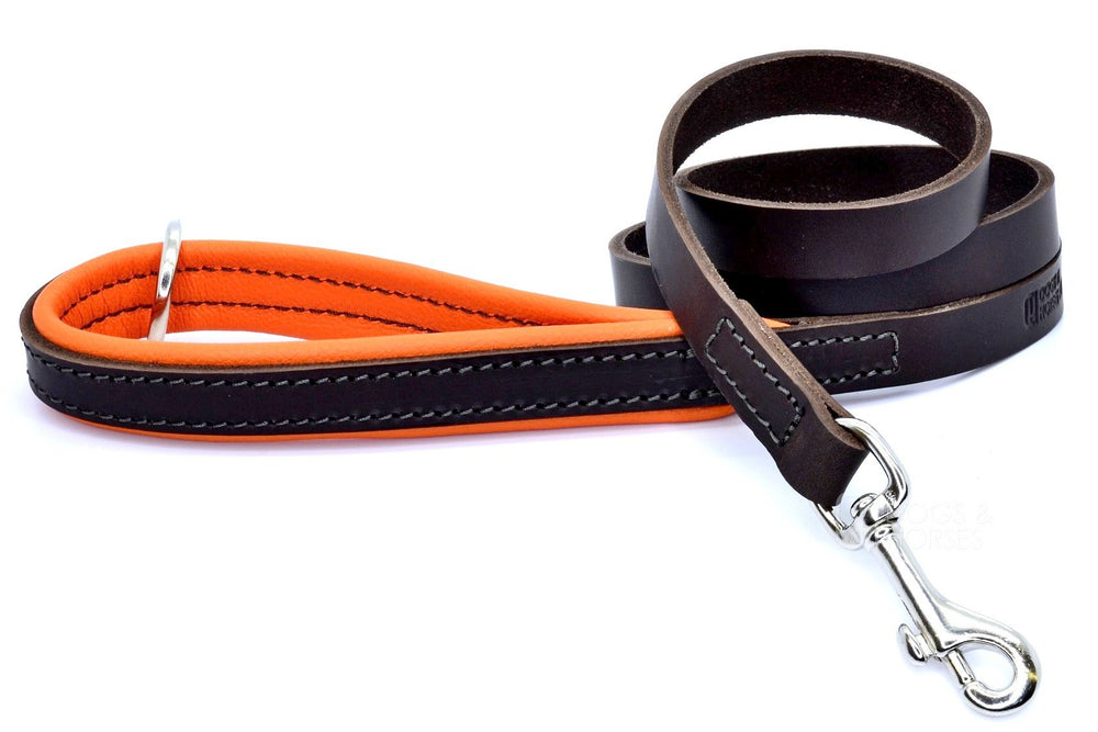 (Dogs&Horses) D&H London. Handmade Luxury Brown flat leather dog lead with padded handle in soft Orange leather. 122 cm long (including handle) x 15mm wide