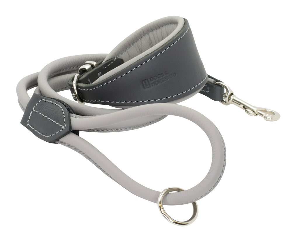 D&H Padded Leather Hound Collar and Rolled Leather Lead Set