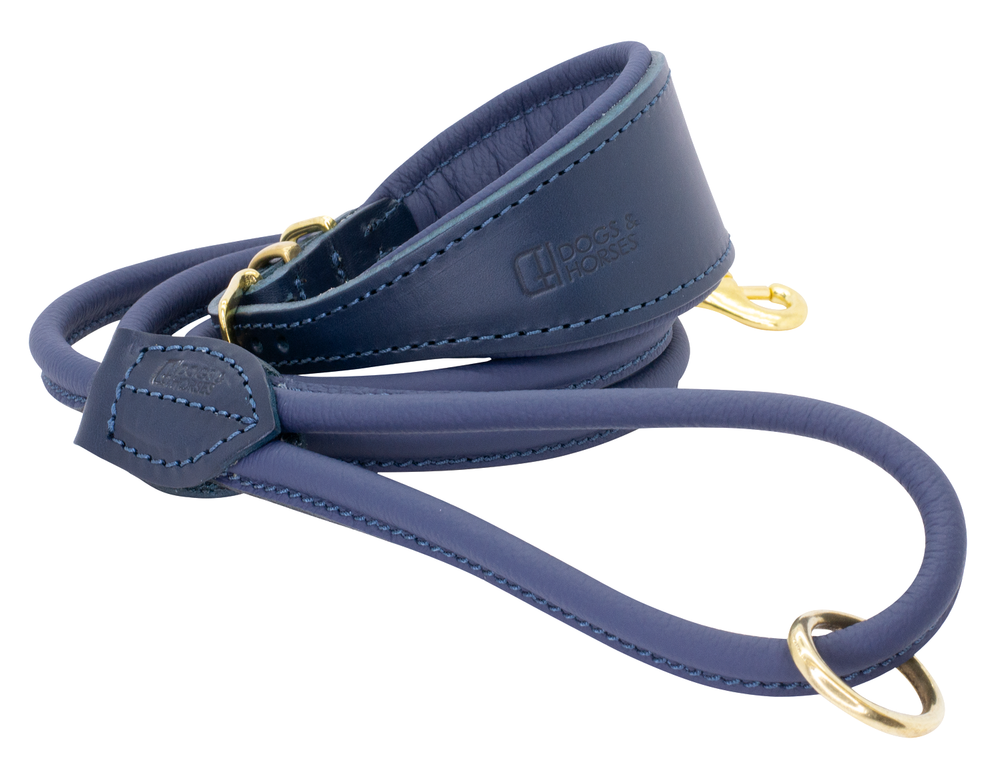 D&H | Padded Leather Hound Collar with Matching Rolled Lead
