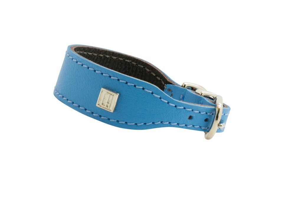 Blue D&H Leather Italian Greyhound Collar
