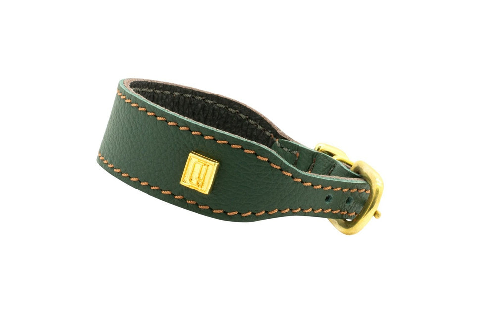 Racing Green / Burghley  D&H Leather Italian Greyhound Collar