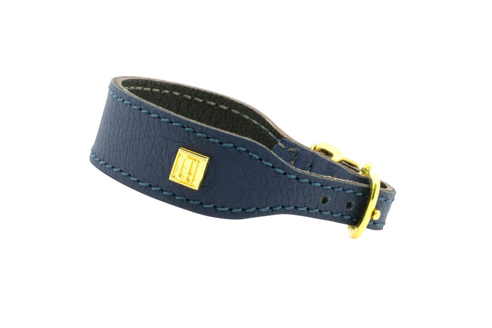 Navy D&H Leather Italian Greyhound Collar