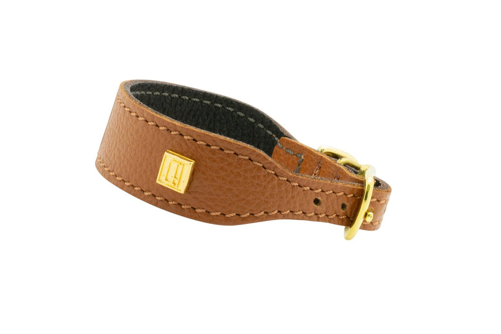 Tan  D&H Leather Italian Greyhound Collar