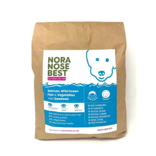 Nora Nose Best Cold Pressed Dog Food, Salmon, Fish, Sweet Potato, Healthy Dog Food, Bag of Dog Food, Quality Dog Food