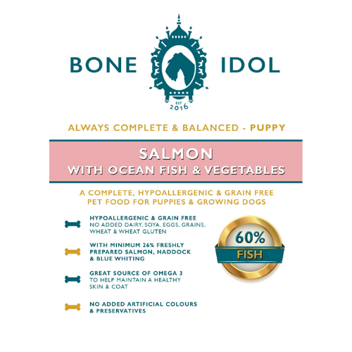Bone Idol Healthy Dog Food - Salmon with Ocean Fish & Garden Vegetables Puppy