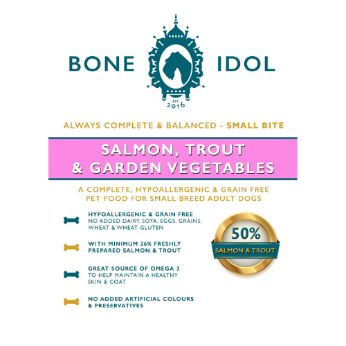 Bone Idol Healthy Dog Food - Salmon, Trout & Garden Vegetables Small Bite