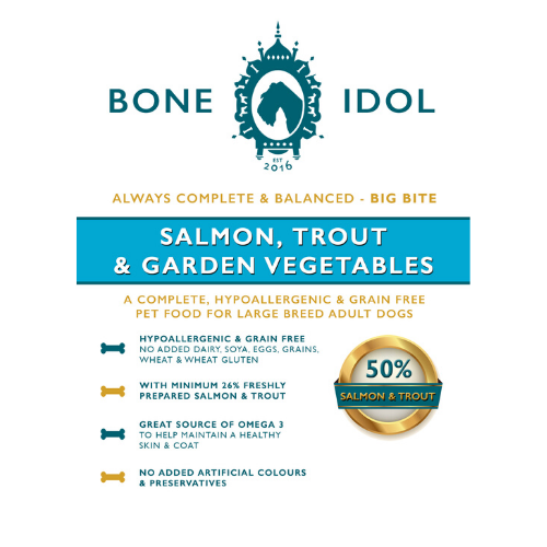 Bone Idol Healthy Dog Food -Salmon, Trout & Garden Vegetables Big Bite