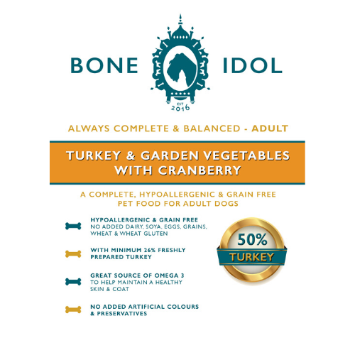 Bone Idol Healthy Dog Food - Turkey and Garden Vegetables with Cranberry Adult