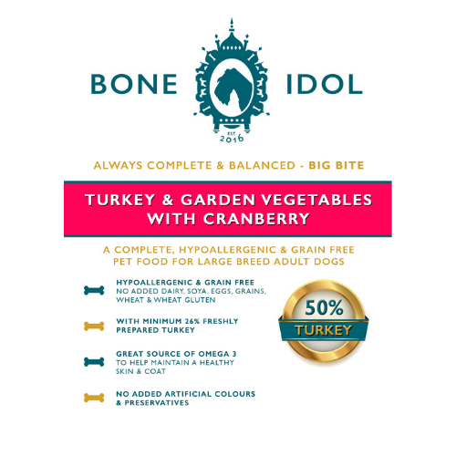 Bone Idol Healthy Dog Food - Turkey and Garden Vegetables with Cranberry Big Bite