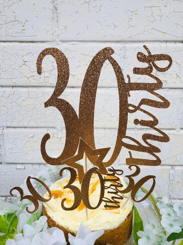 30'th Birthday Rose gold Cake Topper with 4 Cupcake Picks - FiestaPartyStore.com
