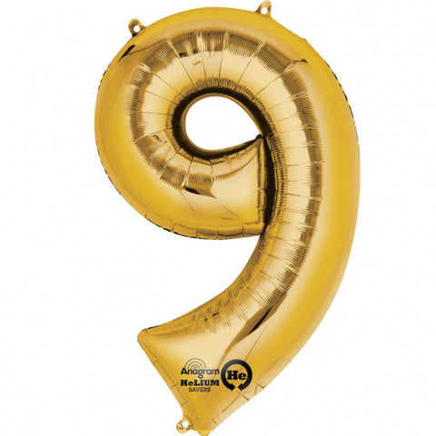 Gold Number 9 SuperShape Foil Balloon