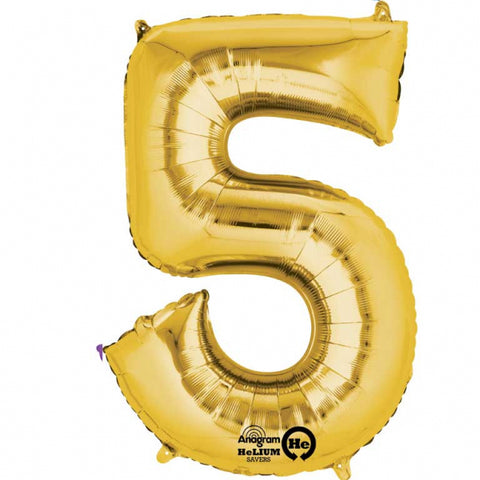 Gold Number 5 SuperShape Foil Balloon