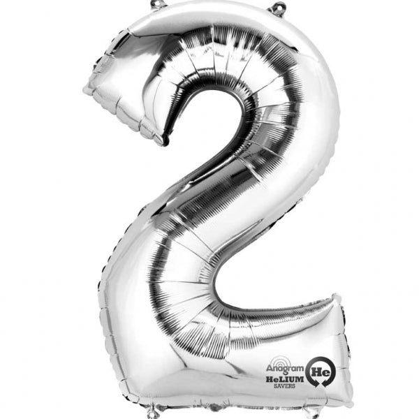 Silver Number 2 SuperShape Foil Balloon