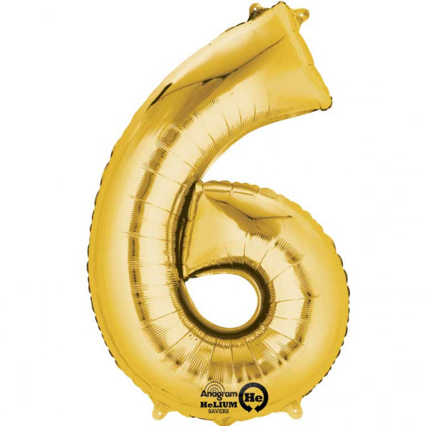 Gold Number 6 SuperShape Foil Balloon