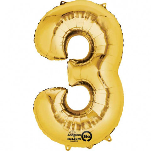 Gold Number 3 SuperShape Foil Balloon