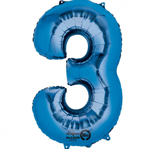 Blue Number 3 SuperShape Foil Balloon