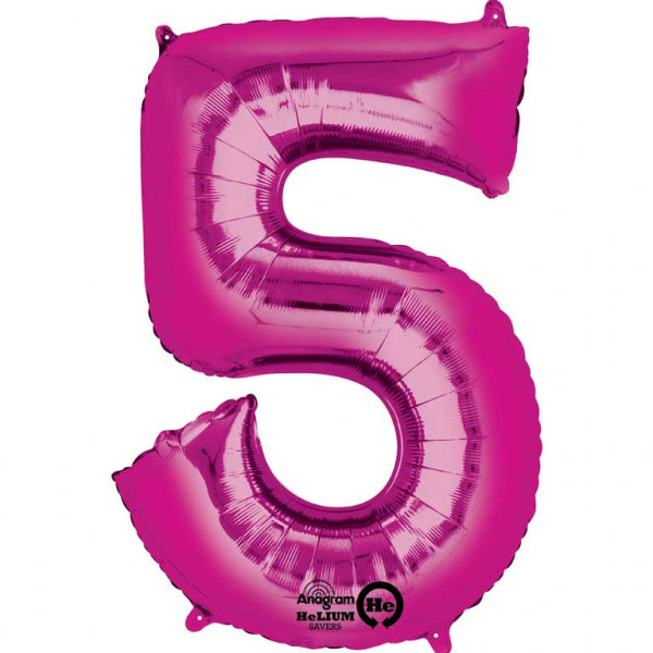 Pink Number 5 SuperShape Foil Balloon
