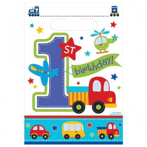 All Aboard Birthday Plastic Party Bags - FiestaPartyStore.com