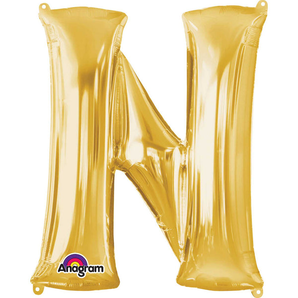 Letter N Supershape Gold Foil Balloon