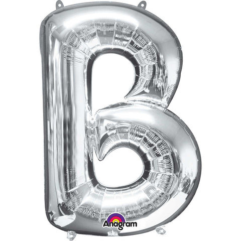 B Supershape Silver Foil Balloon - FiestaPartyStore.com