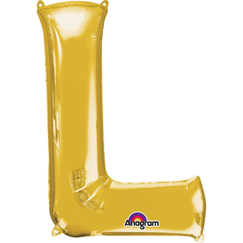 Letter L Supershape Gold Foil Balloon
