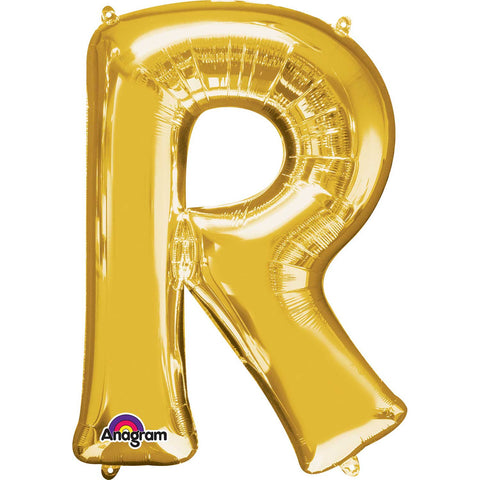 Letter R Supershape Gold Foil Balloon