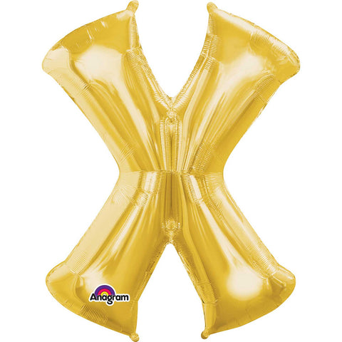 Letter X Supershape Gold Foil Balloon