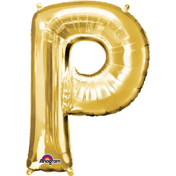 Letter P Supershape Gold Foil Balloon