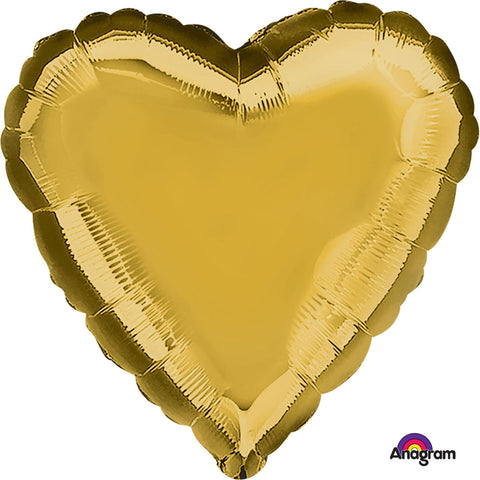 Metallic Gold Heart Standard Foil Balloon