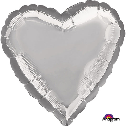 Metallic Silver Heart Standard Foil Balloon