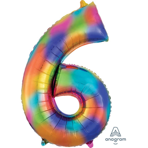 Rainbow Splash Number 6 SuperShape Foil Balloon