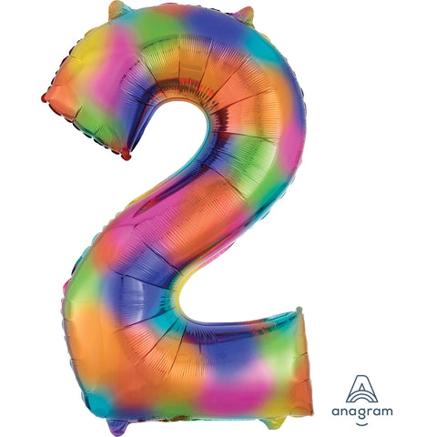 Rainbow Splash Number 2 SuperShape Foil Balloon