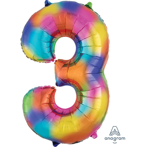 Rainbow Splash Number 3 SuperShape Foil Balloon