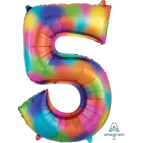 Rainbow Splash Number 5 SuperShape Foil Balloon