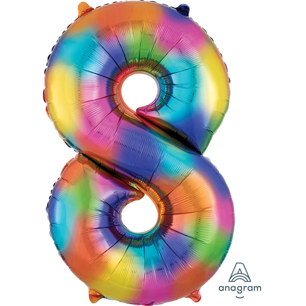 Rainbow Splash Number 8 SuperShape Foil Balloon