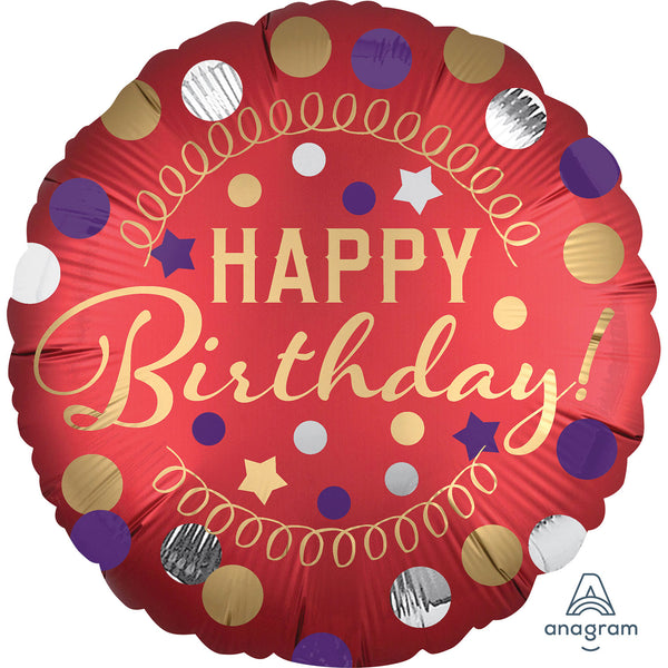 Happy Birthday Red Satin Standard Foil Balloon