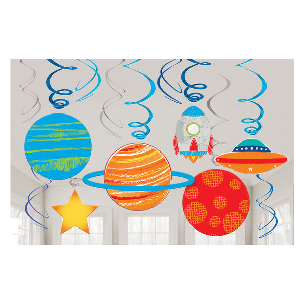 Blast Off Birthday - 12 Swirl Decorations - FiestaPartyStore.com