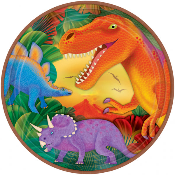 Prehistoric Party Metallic Plates