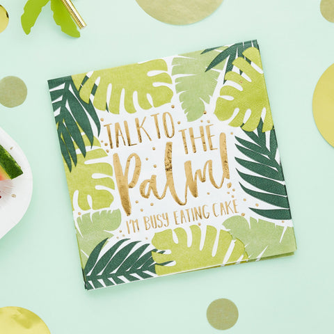 Tropical Leaf Patterned Paper Napkins